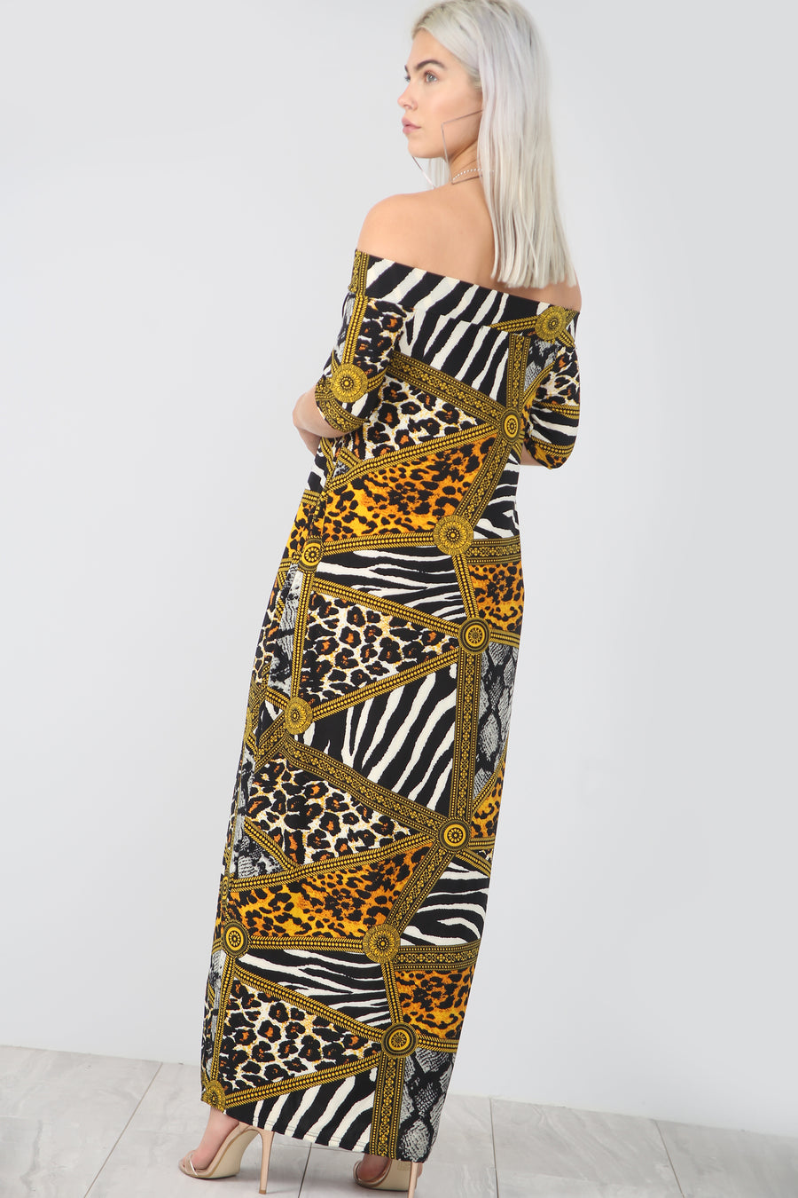 Strapless Animal Print Loose Fit Maxi Dress