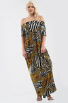 Off Shoulder Animal Print Maxi Dress - bejealous-com