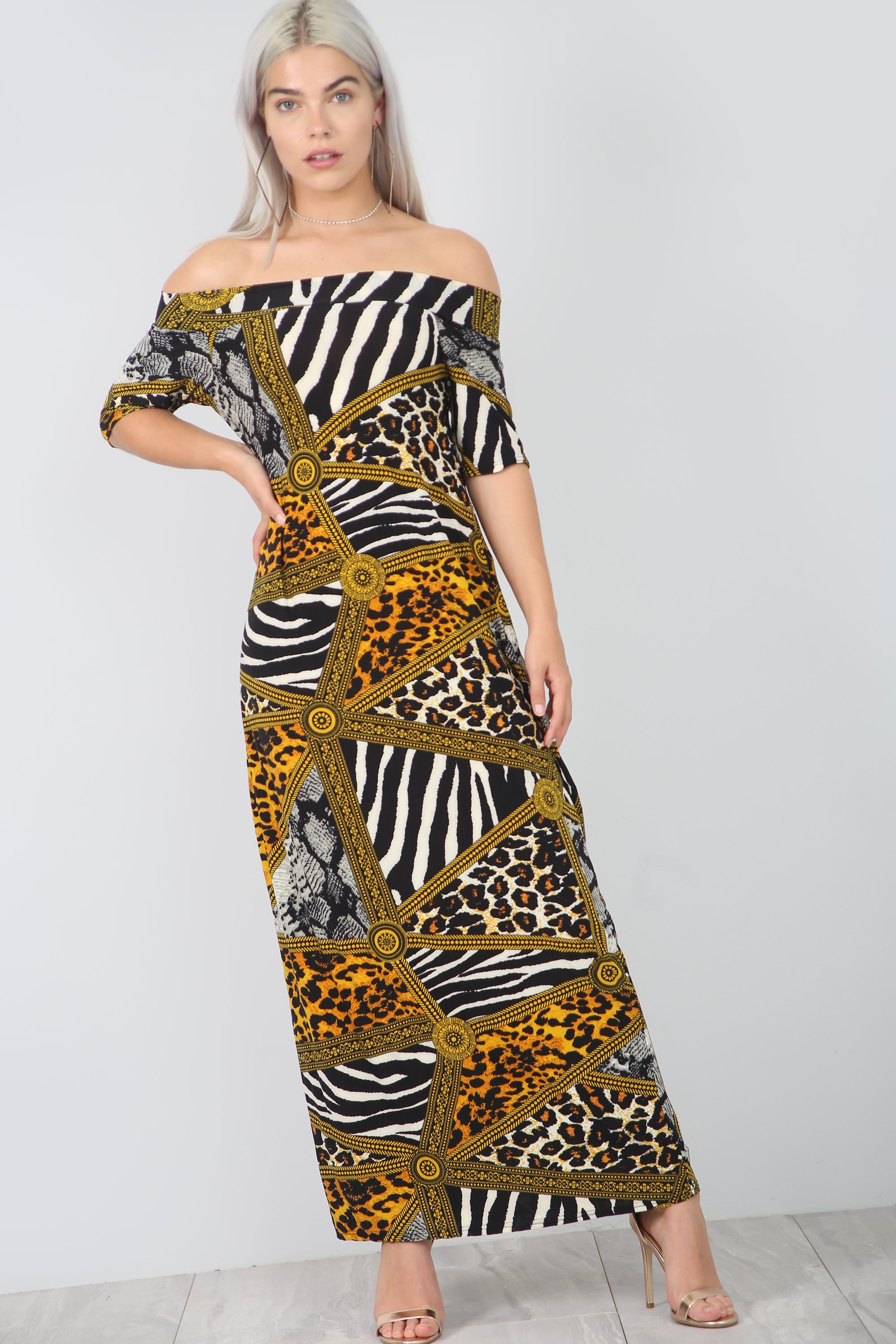 Strapless Animal Print Loose Fit Maxi Dress - bejealous-com
