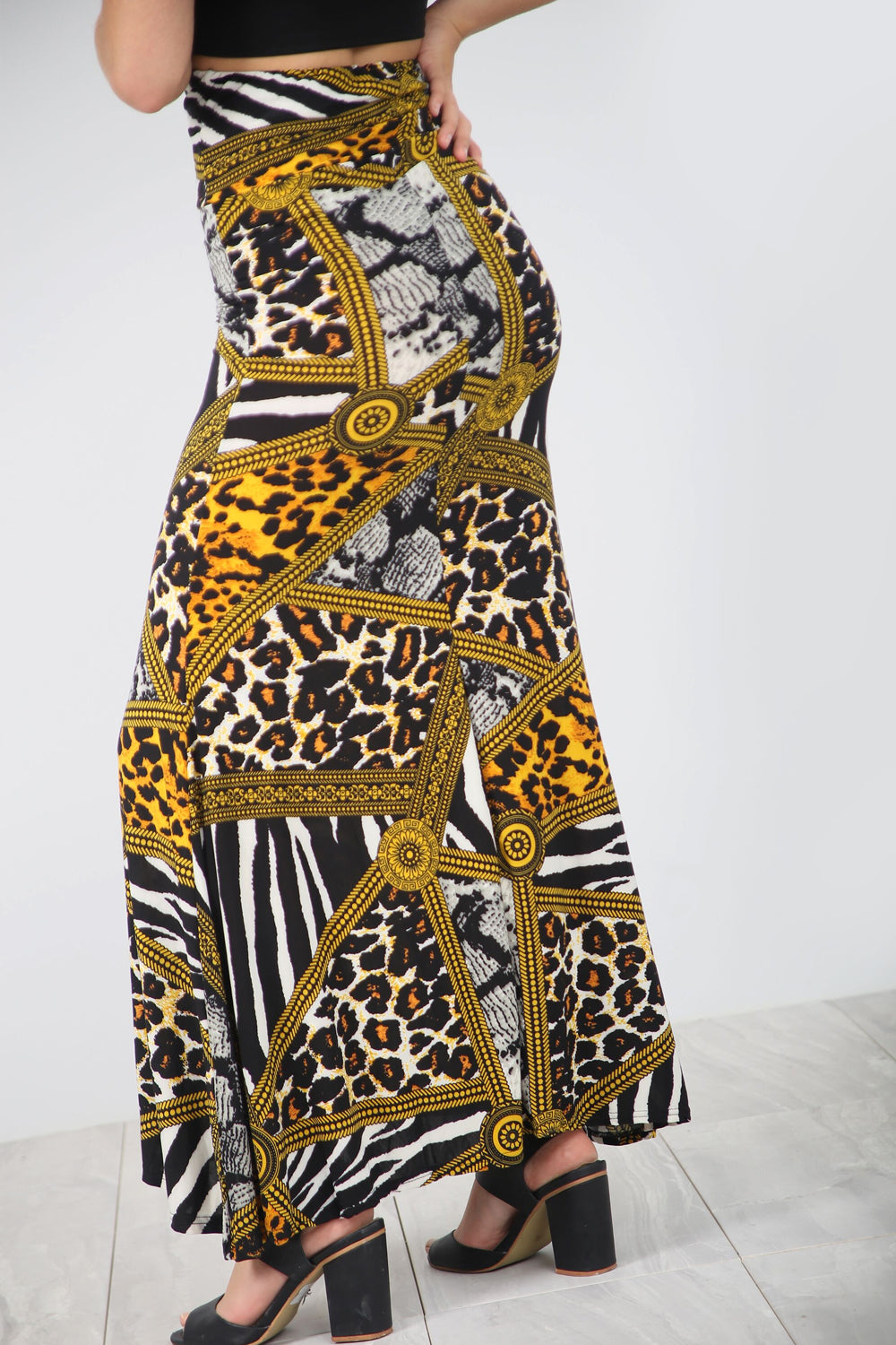 High Waist Animal Print Floaty Maxi Skirt