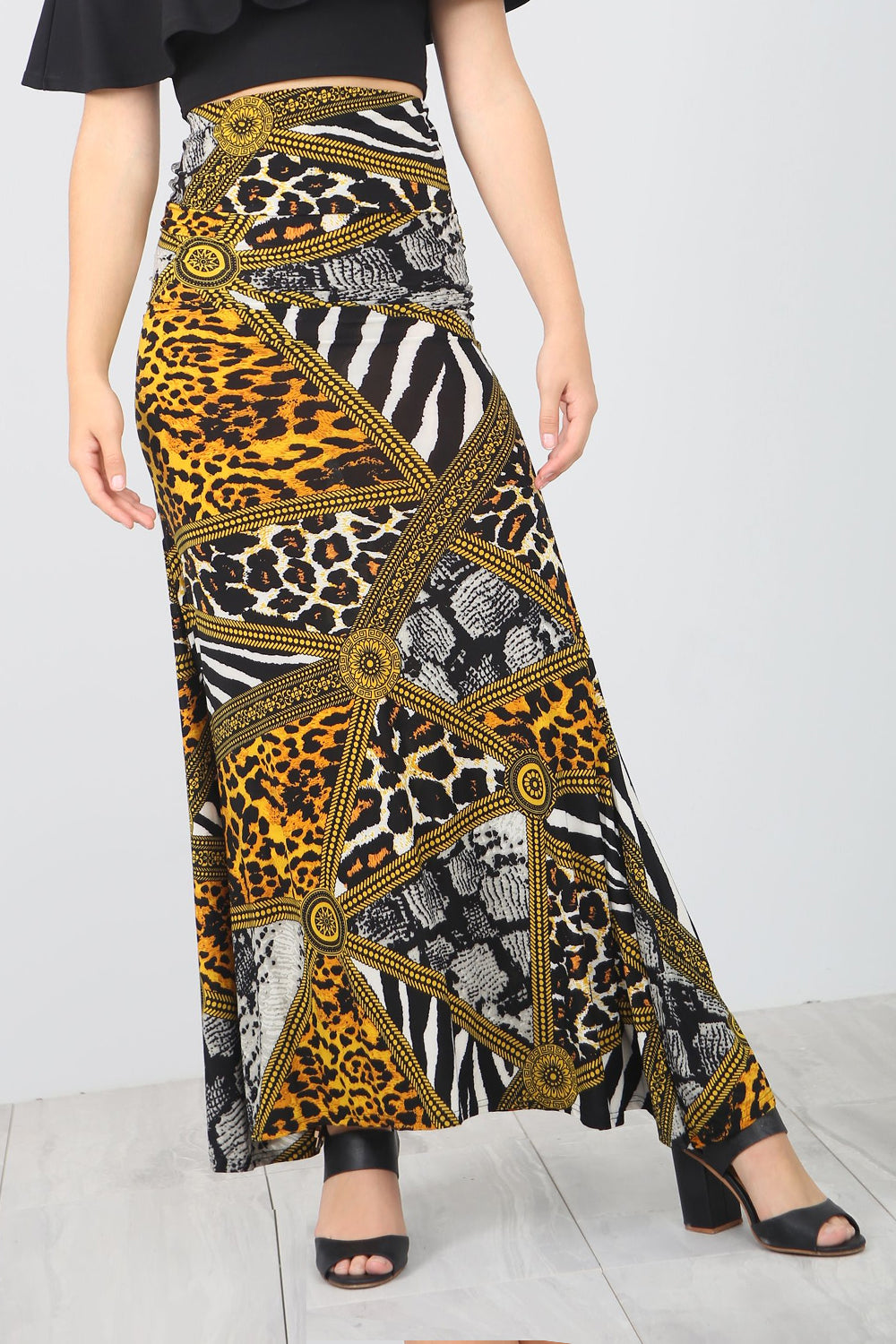 High Waist Animal Print Floaty Maxi Skirt - bejealous-com