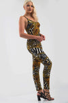 Strappy Animal Print Full Length Unitard - bejealous-com