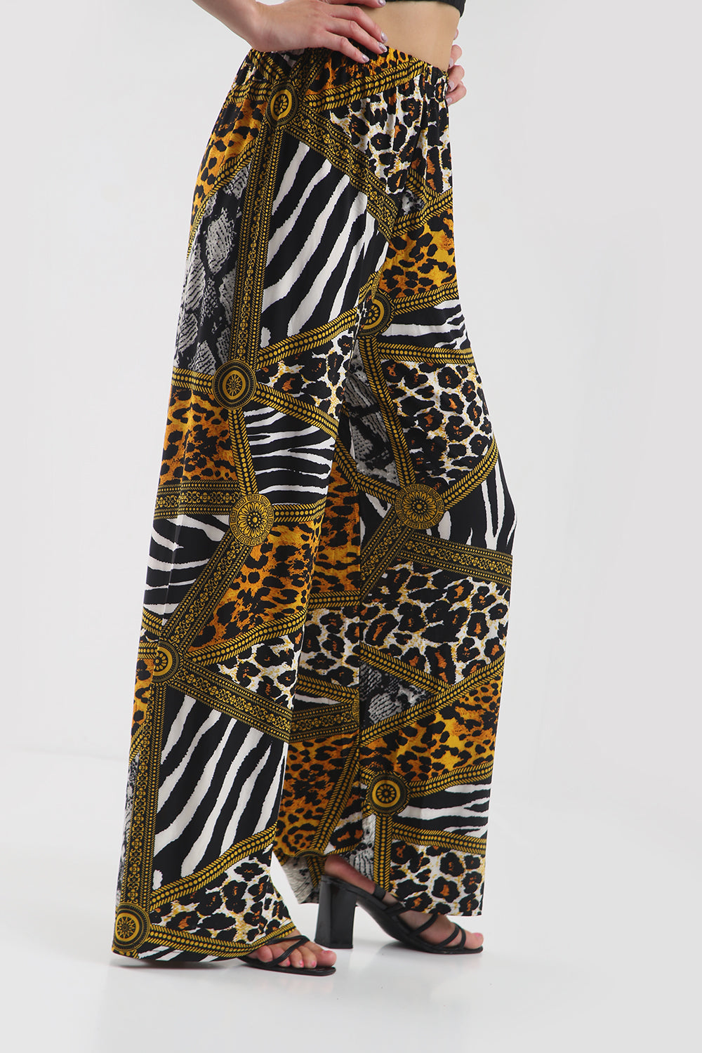 High Waist Wide Leg Animal Print Palazzo Pants - bejealous-com