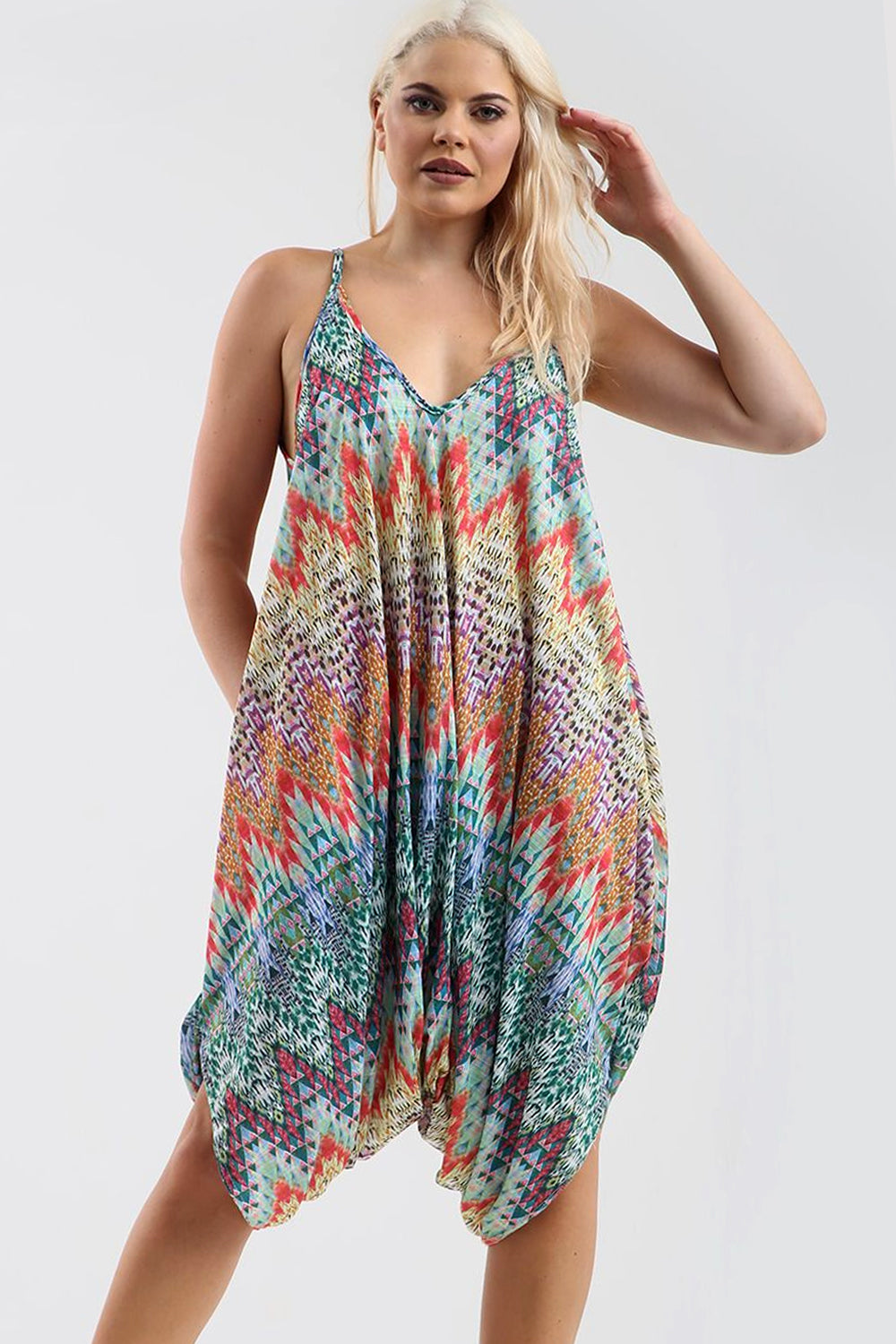 Strappy Draped Harem Jumpsuit in Aztec Print