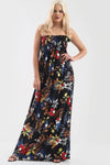 Tropical Print Black Bardot Shirring Maxi Dress - bejealous-com