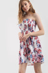 Sammi Sheering Strapless Floral Swing Dress