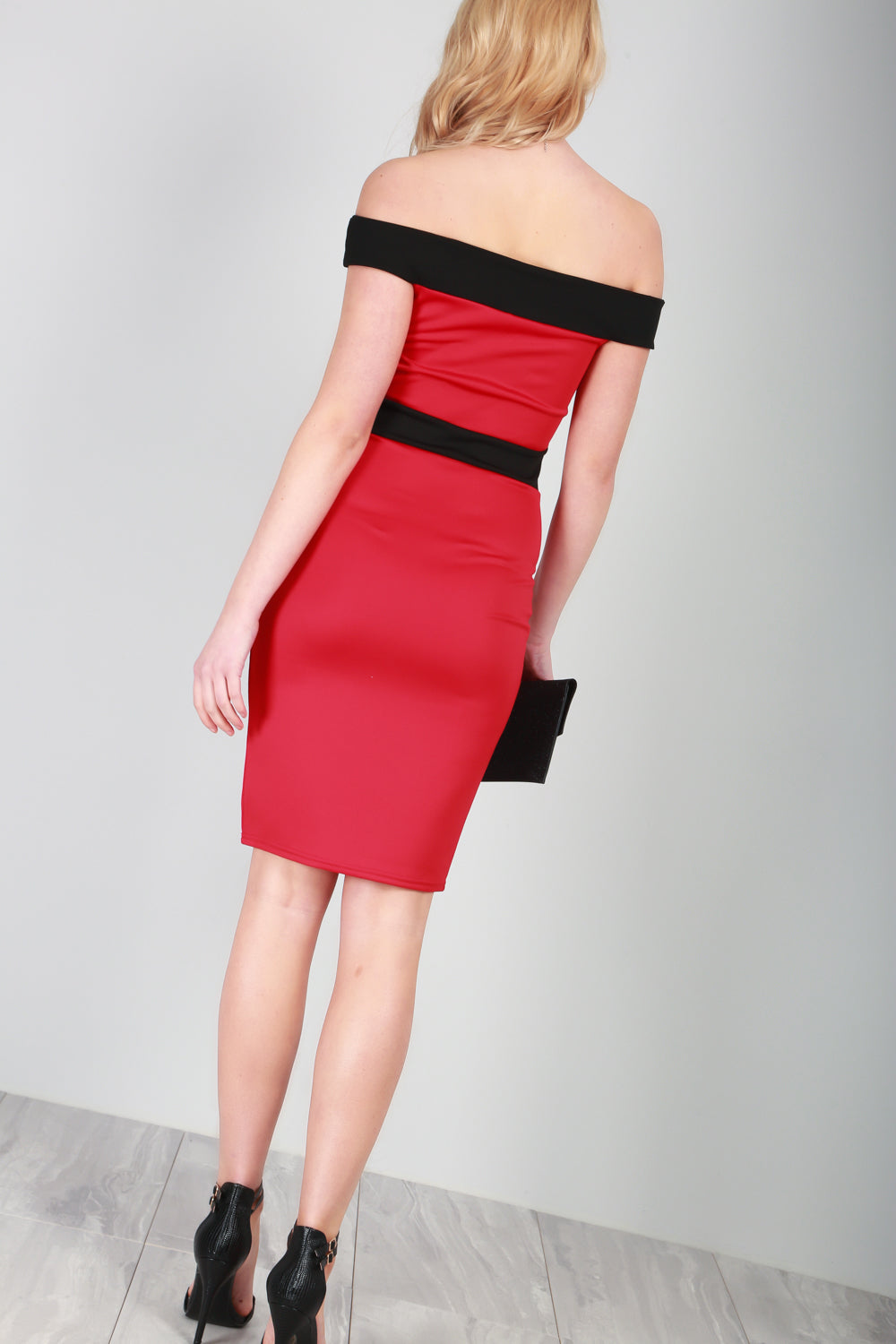 Red Bardot Ribbed Bodycon Midi Dress - bejealous-com