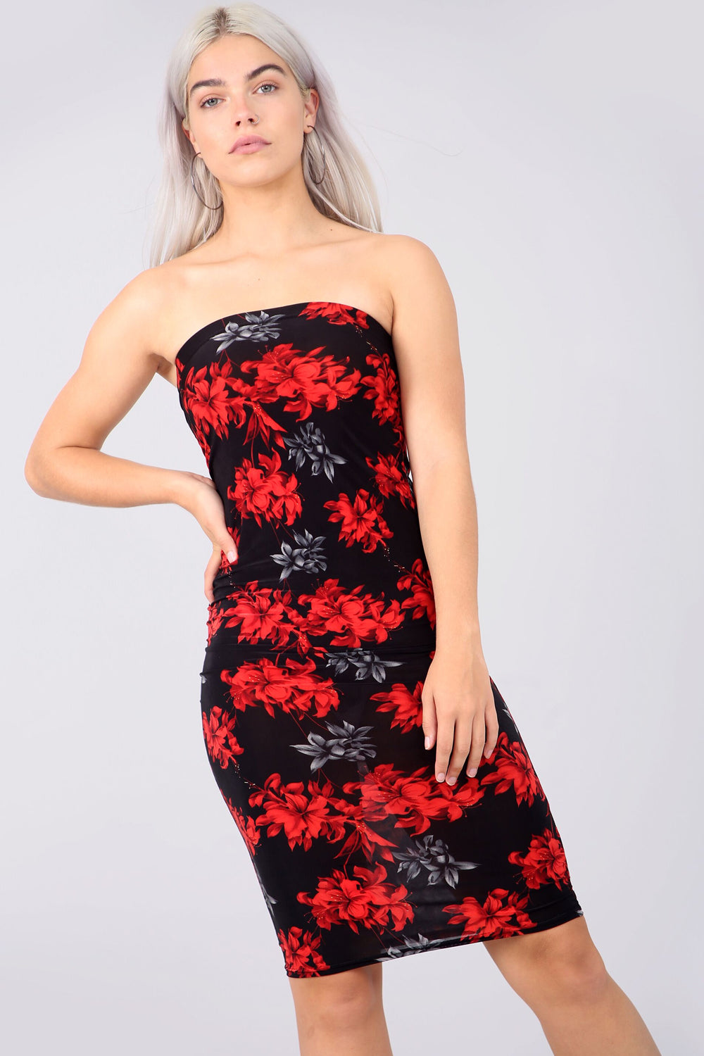 Bandeau Red Floral Print Midi Tube Dress