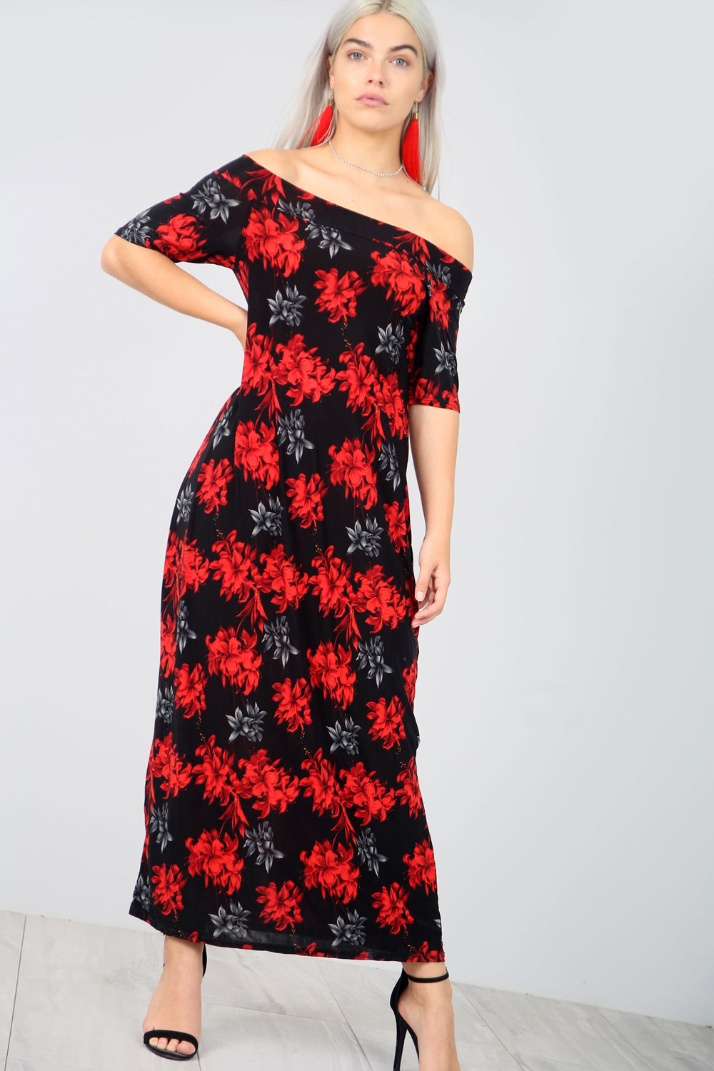 Off The Shoulder Red Floral Print Maxi Dress - bejealous-com
