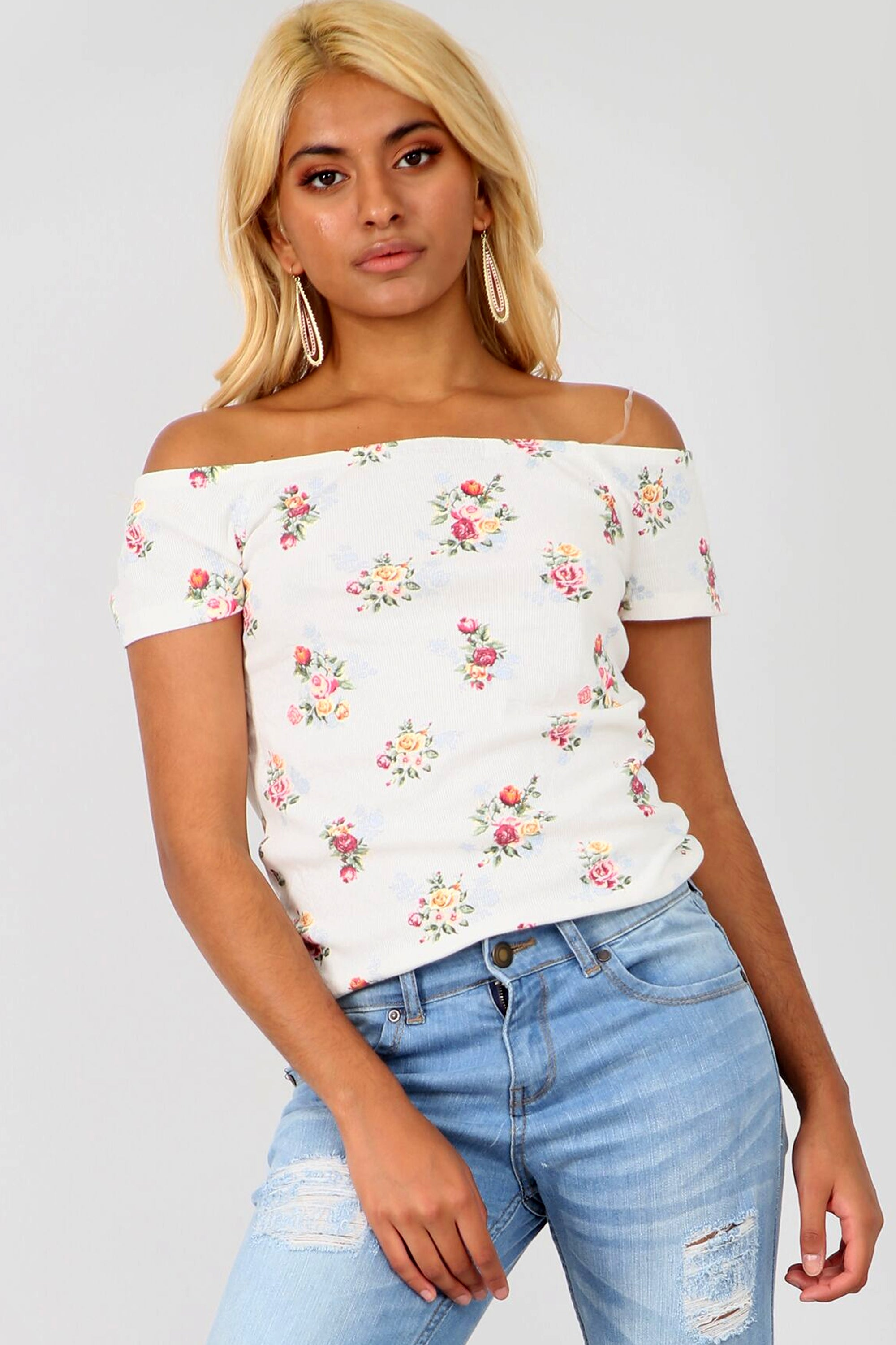 Bardot Cream Floral Ribbed Knit Top - bejealous-com