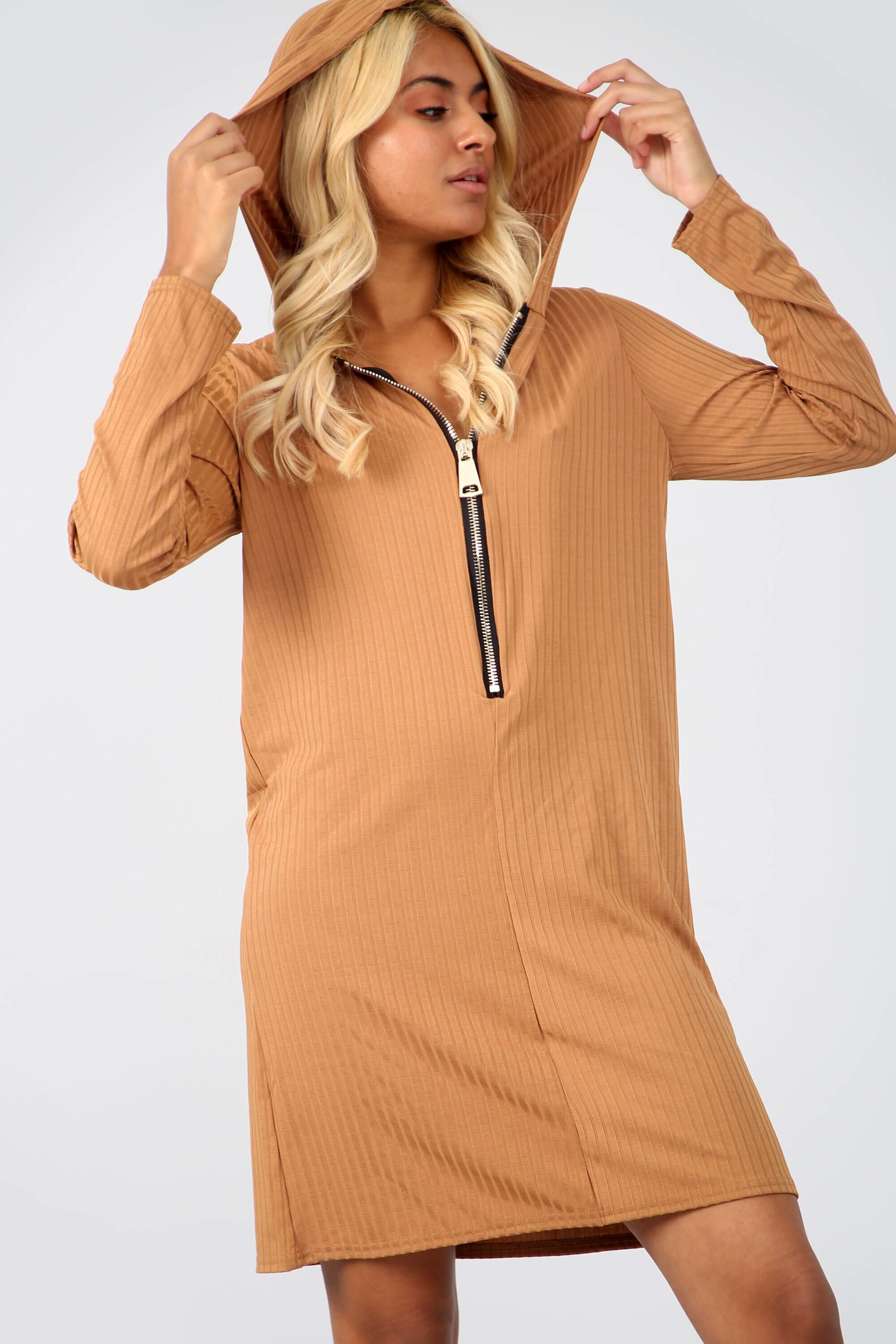 Long Sleeve Zip Neck Ribbed Mini Dress - bejealous-com