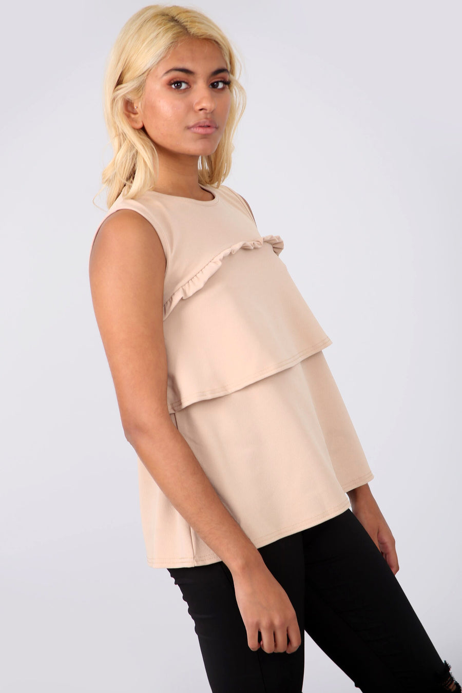 Sleeveless Crepe Tiered Frill Beige Top - bejealous-com