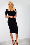 Short Sleeve Basic Jersey Black Midi Bodycon Dress - bejealous-com
