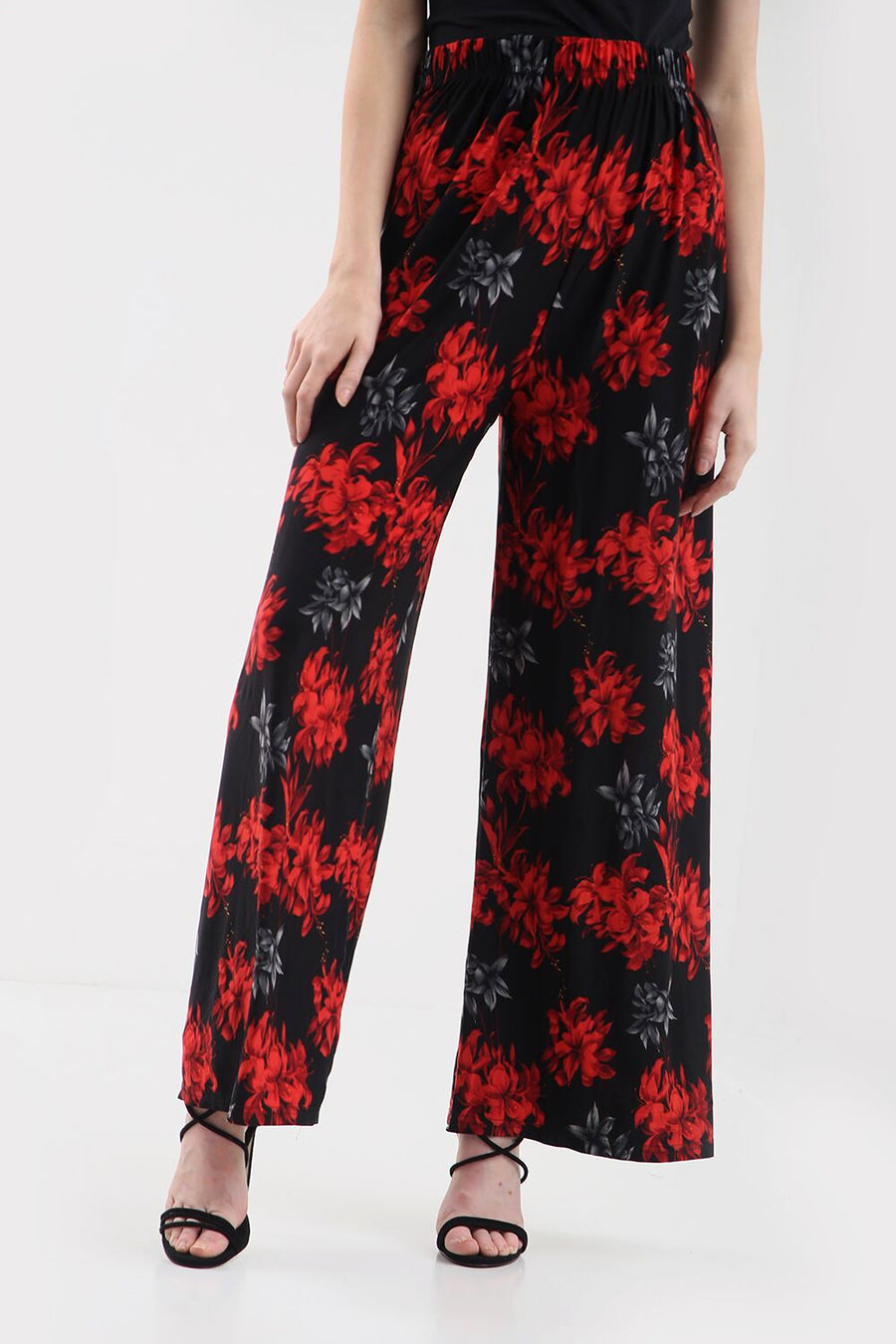 High Waist Red Floral Wide Leg Trousers - bejealous-com