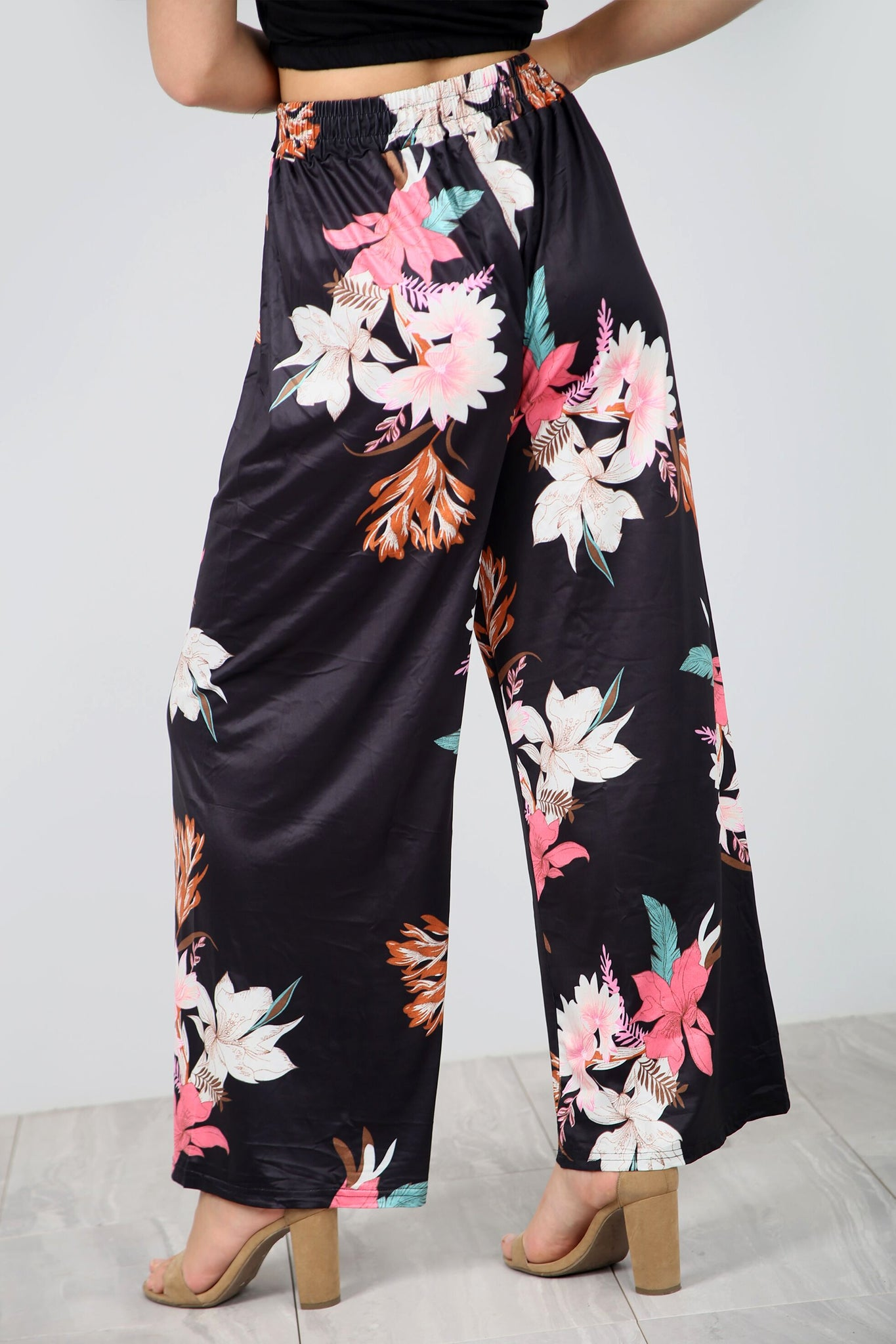 High Waist Coral Tropical Print Wide Leg Pants - bejealous-com