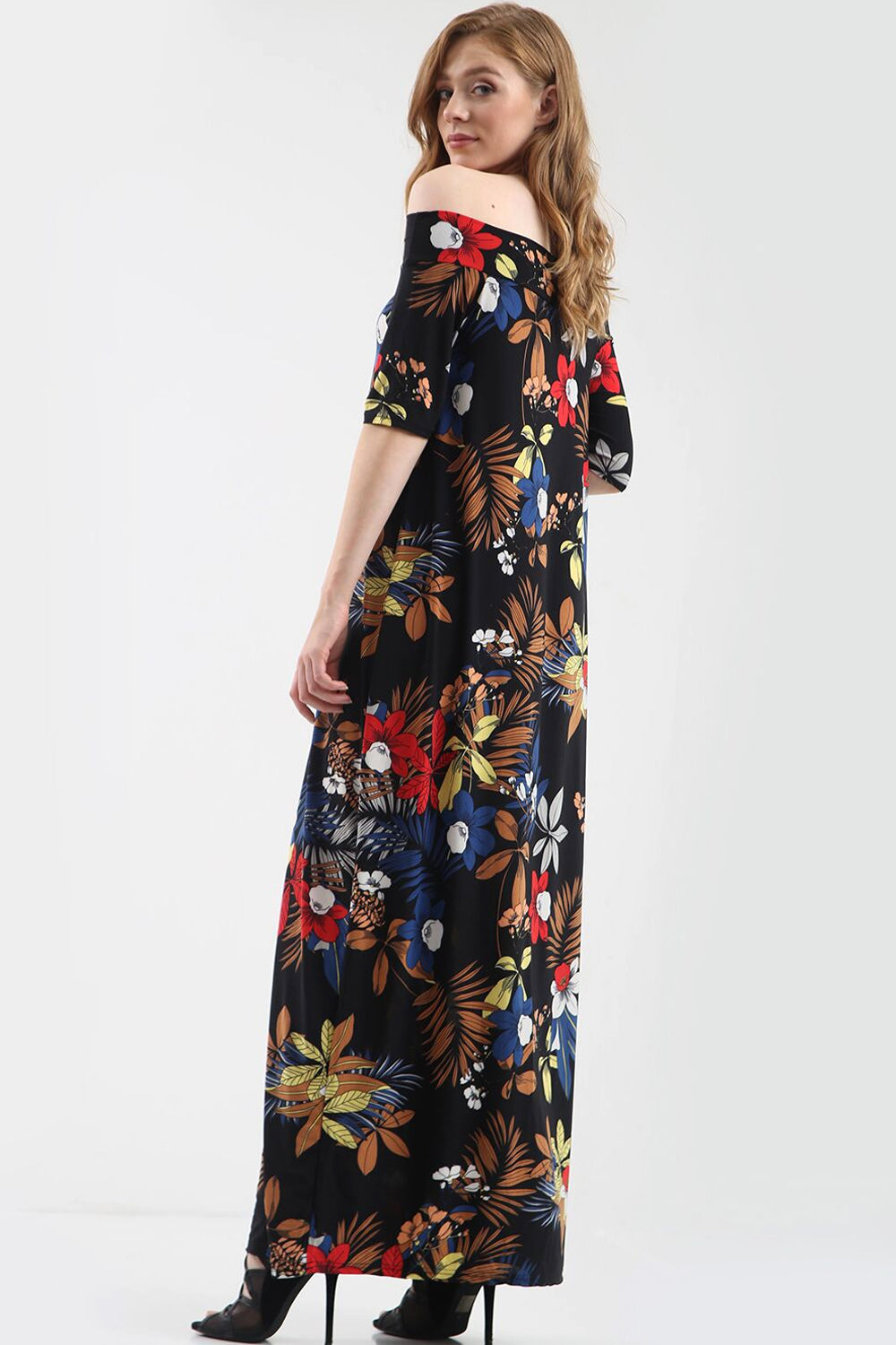 Off Shoulder Black Floral Print Maxi Dress - bejealous-com