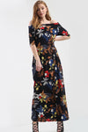 Off Shoulder Black Floral Print Maxi Dress