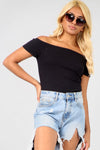 Off The Shoulder Black Ribbed Knit Top - bejealous-com