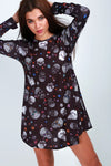 Long Sleeve Candy Skull Print Mini Dress - bejealous-com