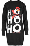 Ho Ho Ho Slogan Print Xmas Jumper Dress - bejealous-com