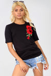 Floral Applique Black Baggy Basic Tshirt - bejealous-com