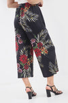 High Waisted Tropical Print Slinky Culotte Trousers - bejealous-com