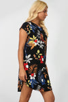 Floral Print Curved Hem Baggy Tshirt Dress - bejealous-com