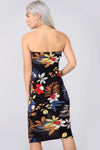 Bandeau Multi Floral Print Black Bodycon Dress - bejealous-com