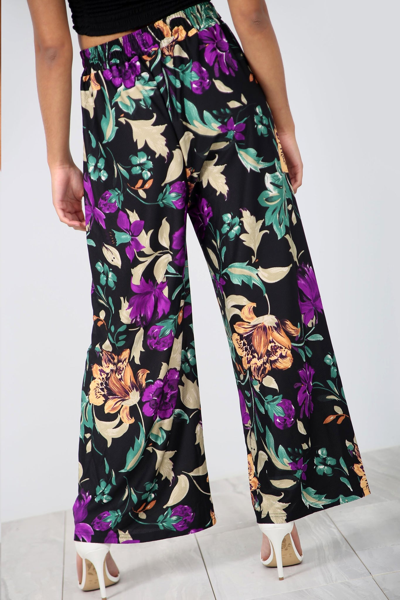 High Waist Yellow Tropical Print Wide Leg Pants - bejealous-com