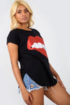 Graphic Print Turn Up Sleeve Baggy Tshirt - bejealous-com