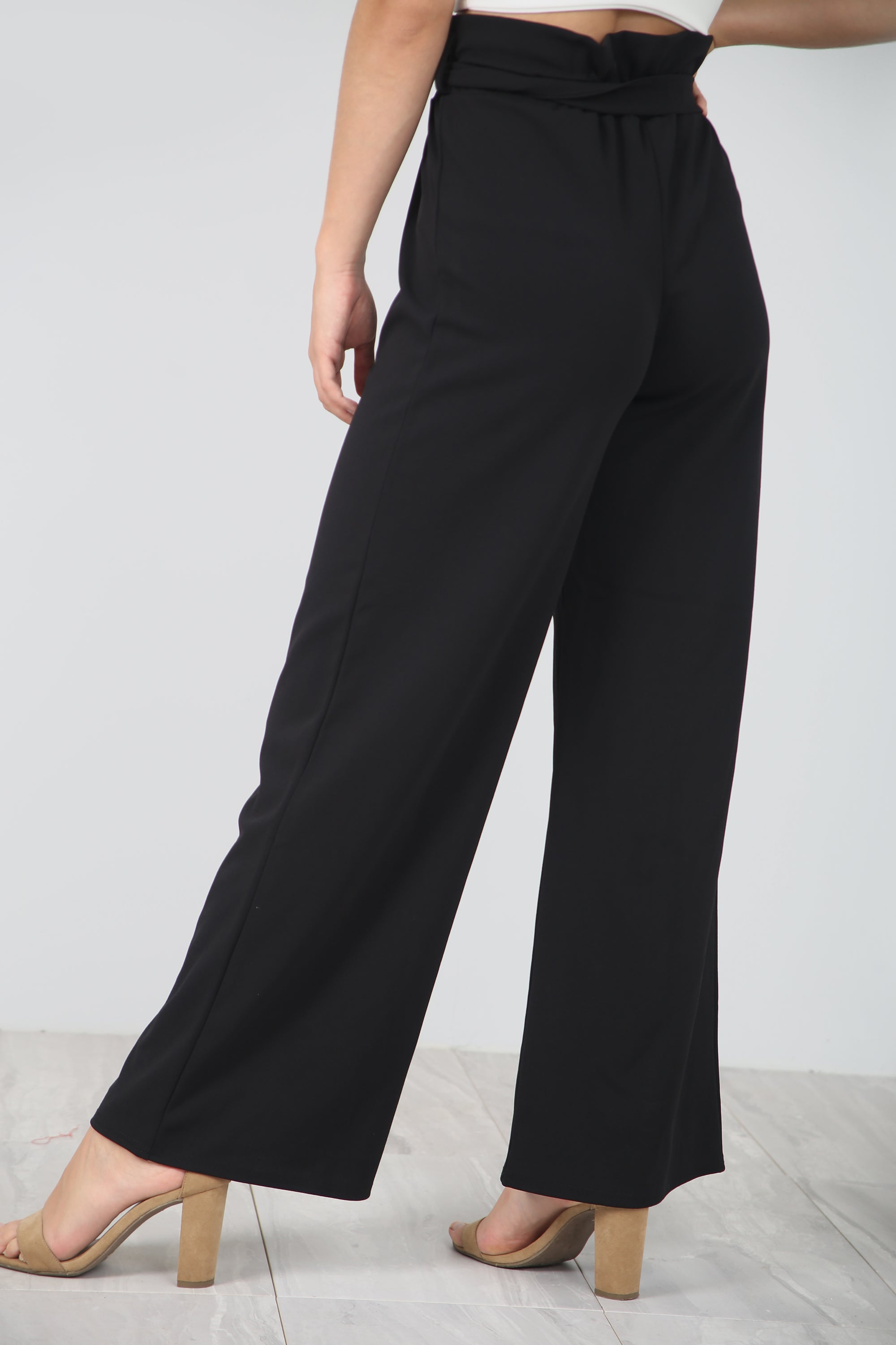 High Waist Black Paper Bag Wide Leg Trousers - bejealous-com