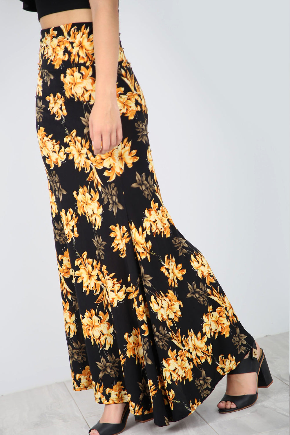 High Waist Yellow Floral Fish Tail Maxi Skirt - bejealous-com