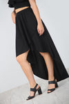 High Waist Tiered Frill Floaty Black Midaxi Skirt - bejealous-com