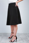 High Waist Black Midi Scuba Skater Skirt - bejealous-com