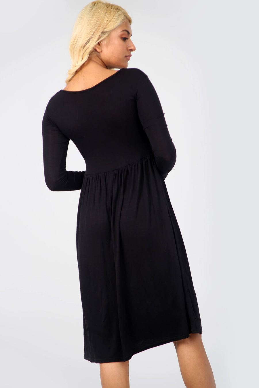 Long Sleeve Basic Black Midi Swing Dress - bejealous-com