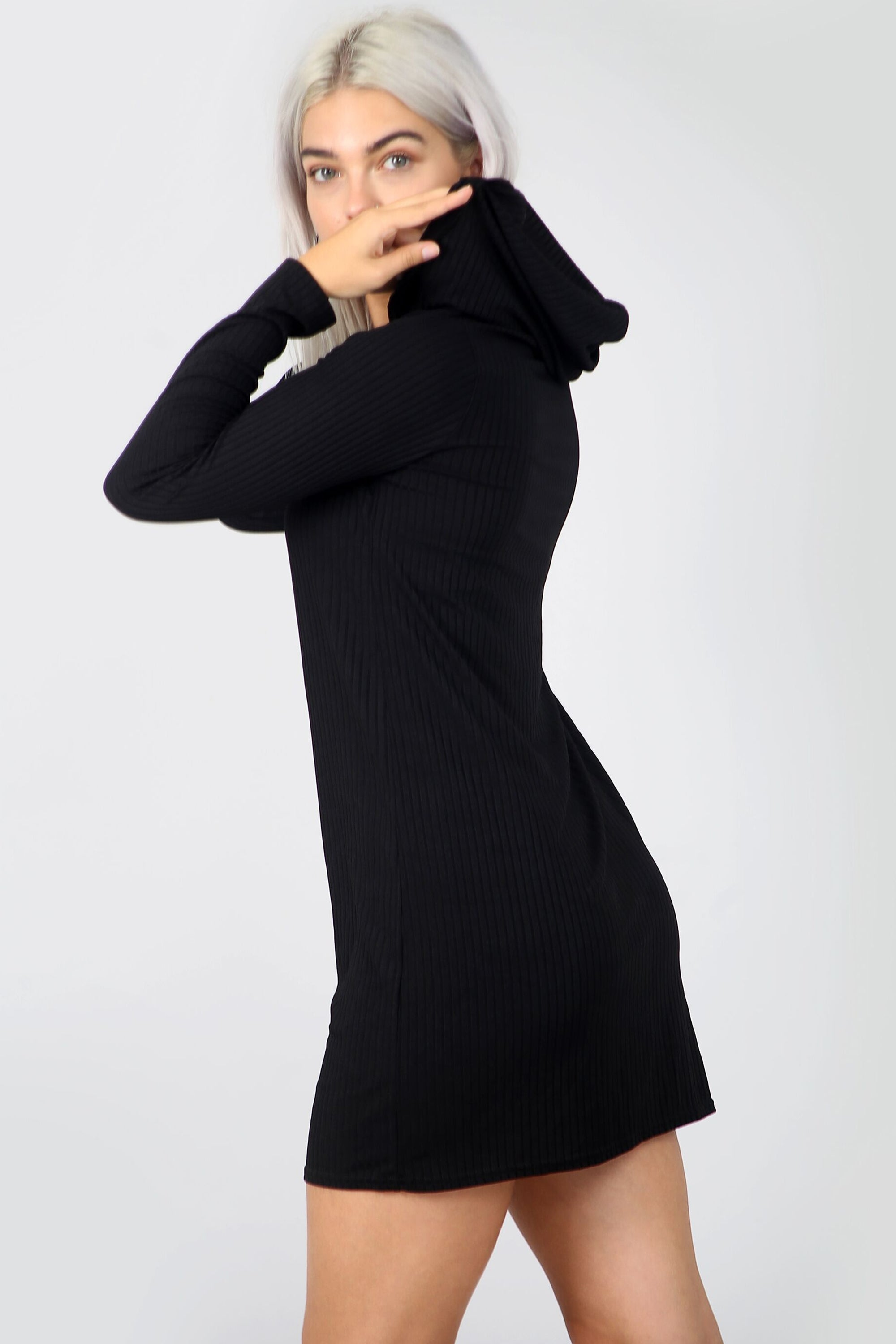 Long Sleeve Plunge Neck Black Ribbed Sweater Dress - bejealous-com