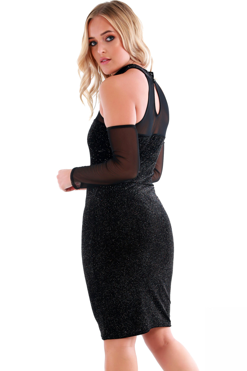 Long Sleeve Off Shoulder Bodycon Dress in Black - bejealous-com