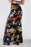 High Waist Black Floral Fishtail Maxi Skirt