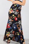 High Waist Black Floral Fishtail Maxi Skirt - bejealous-com