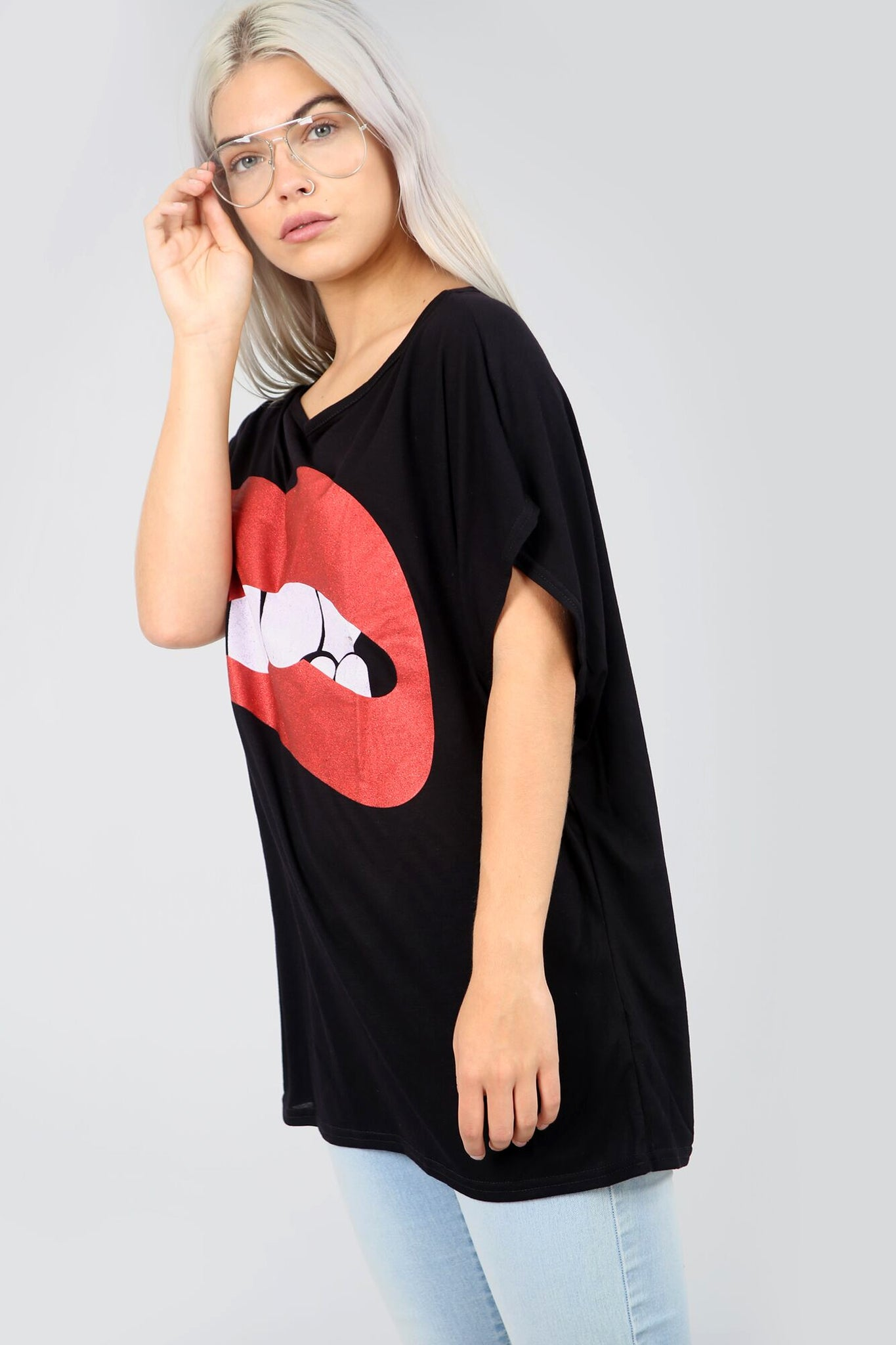 Graphic Print Lips Oversize Black Bat Wing Tshirt - bejealous-com