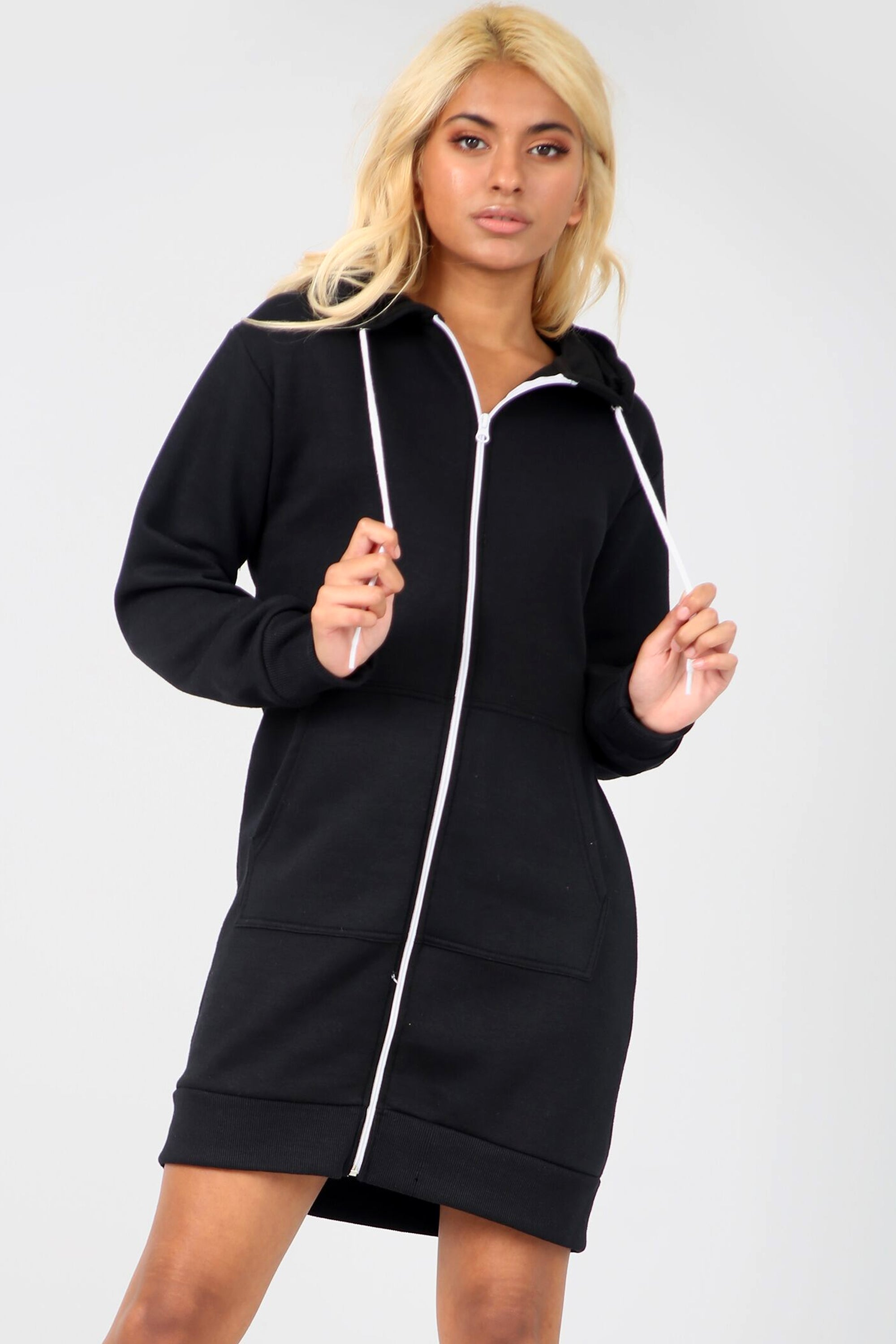 Long Sleeve Hooded Black Sweatshirt Jumper Dress - bejealous-com