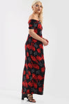Black Off Shoulder Red Floral Print Maxi Dress