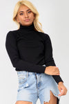 Long Sleeve Navy Polo Neck Knitted Top - bejealous-com