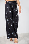 High Waist Belted Blue Floral Palazzo Trousers - bejealous-com