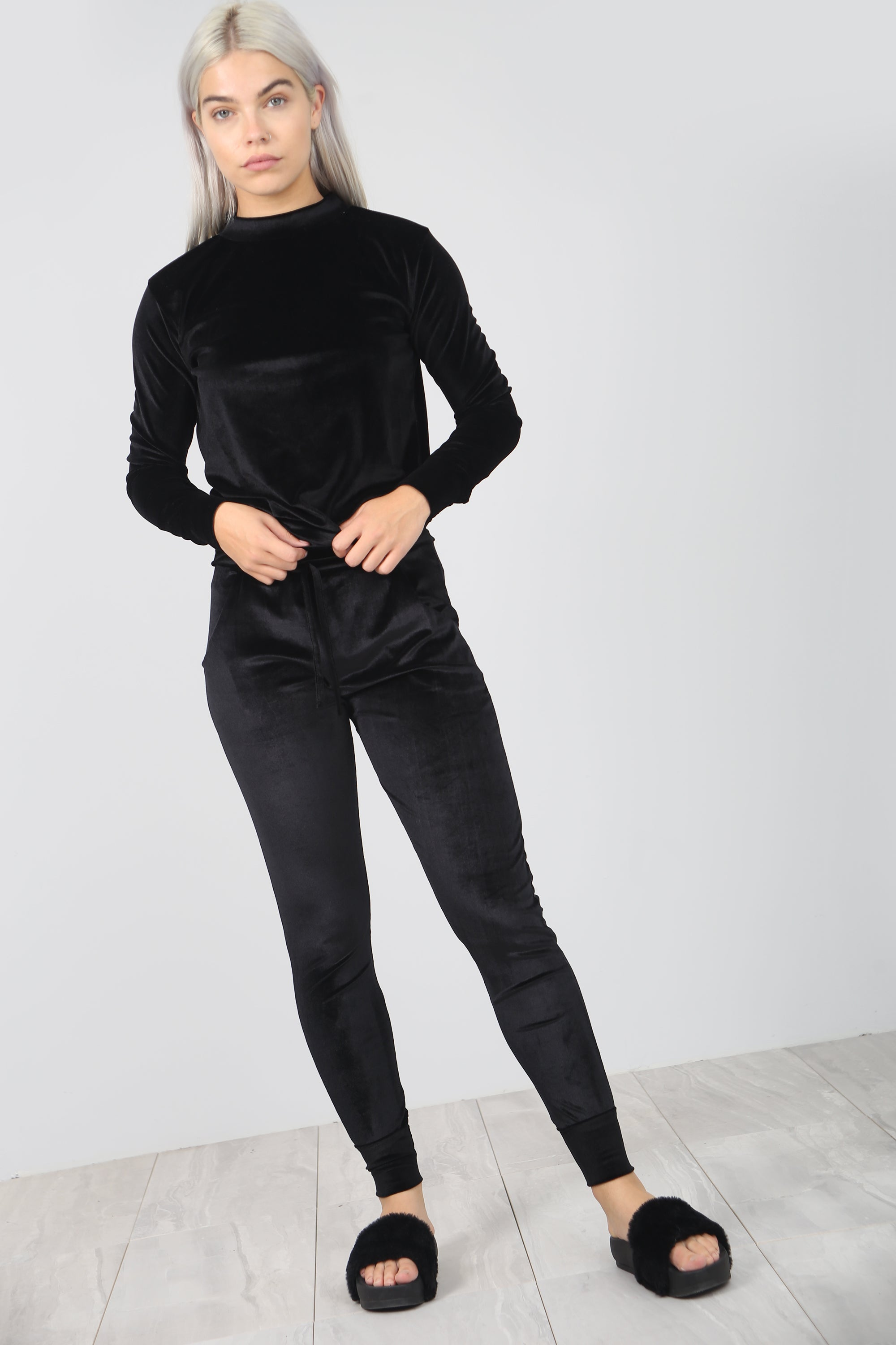 Faux Velvet Black Slim Fit Lounge Wear Coord - bejealous-com
