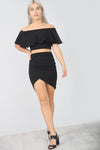 High Waist Asymmetric Black Wrap Mini Skirt - bejealous-com