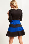 Cropped Sleeve Paneled Mini Skater Dress - bejealous-com