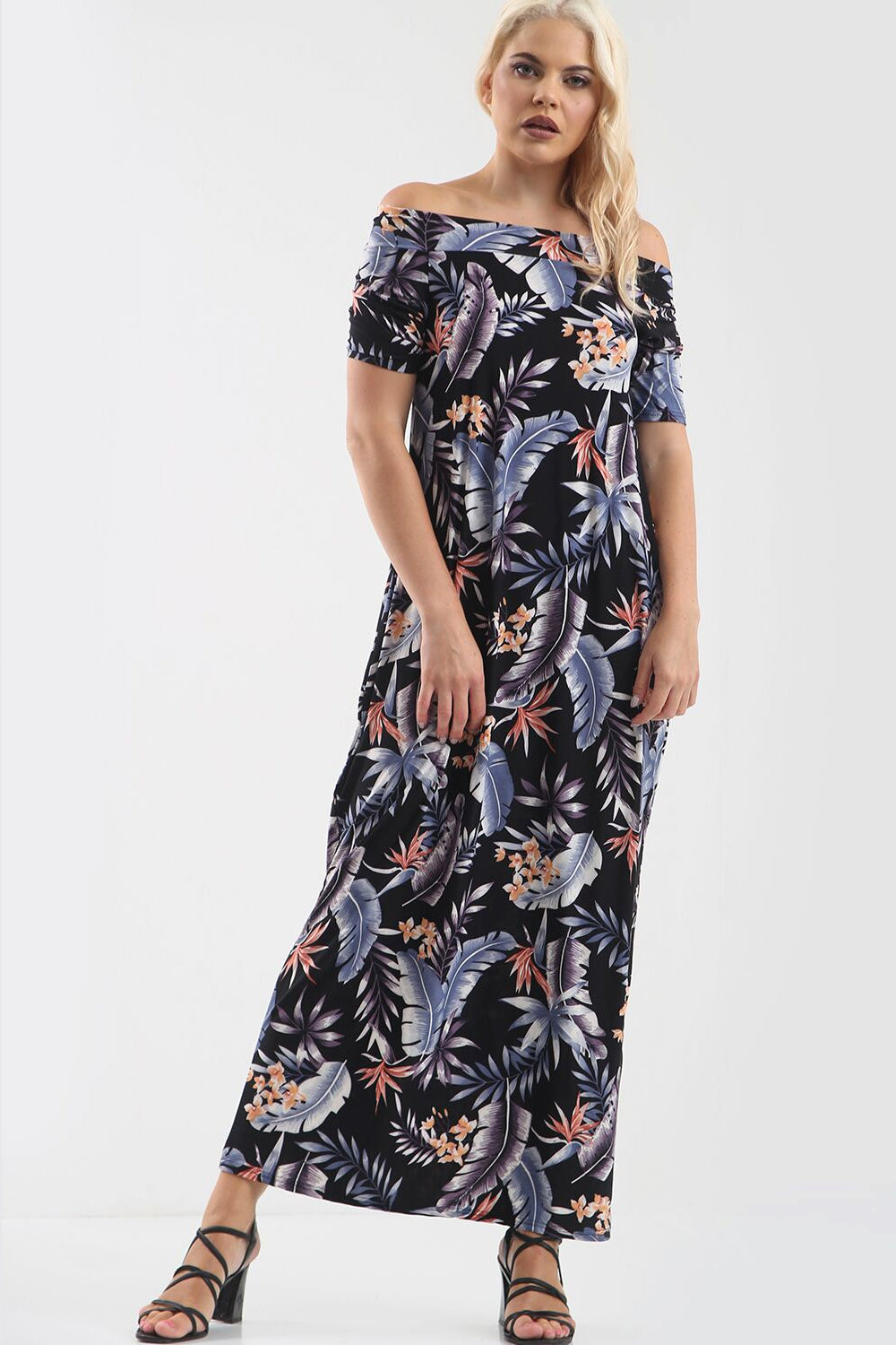 Off Shoulder Blue Floral Print Maxi Dress