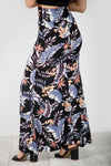 High Waist Blue Floral Fishtail Maxi Skirt