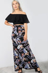 High Waist Blue Floral Fishtail Maxi Skirt - bejealous-com